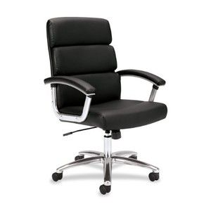 basyx by HON VL103 Mid-Back Leather Executive Task Chair, Black