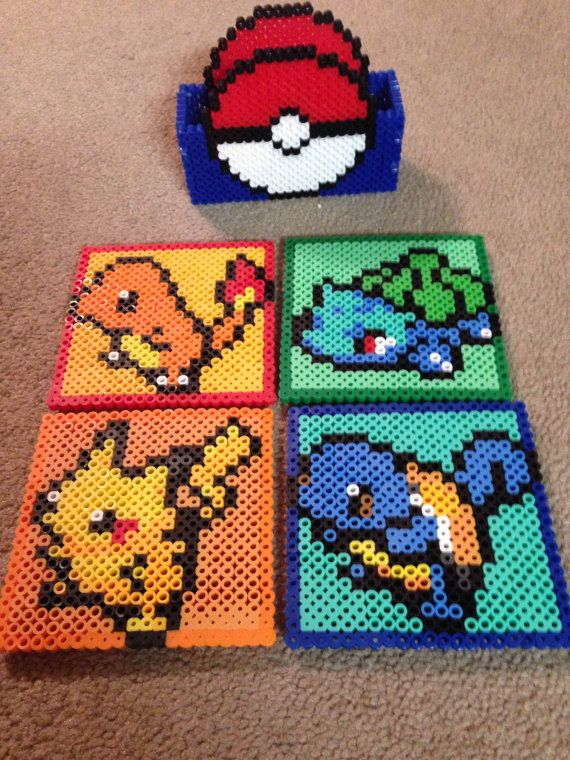 Set of 4 Pokemon Perler Coasters with Pokeball