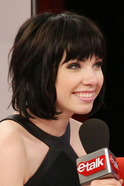 Carly Rae Jepsen Straight Black Bob, Choppy Bangs, Layered Bob ...