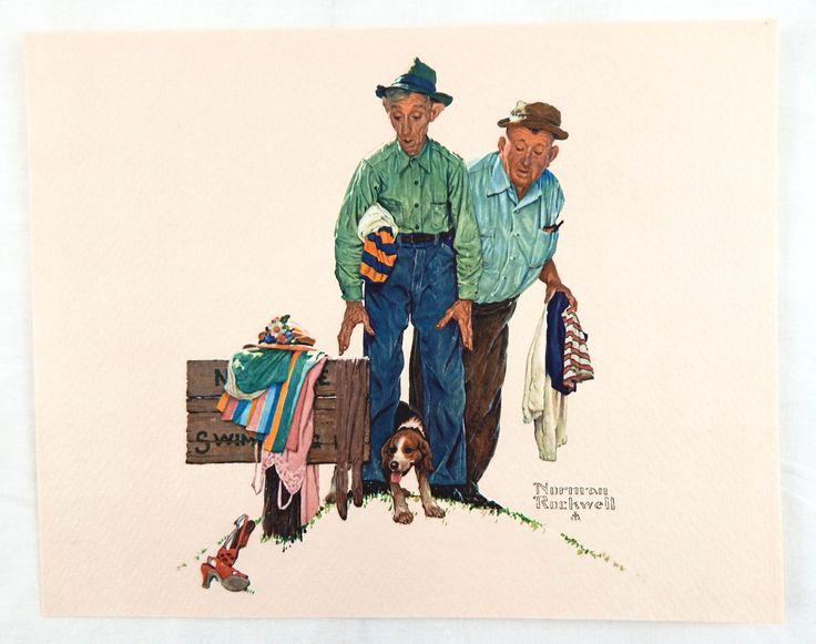 Vintage 1970's Norman Rockwell Sweet Surprise Embossed Print Old Timers Series
