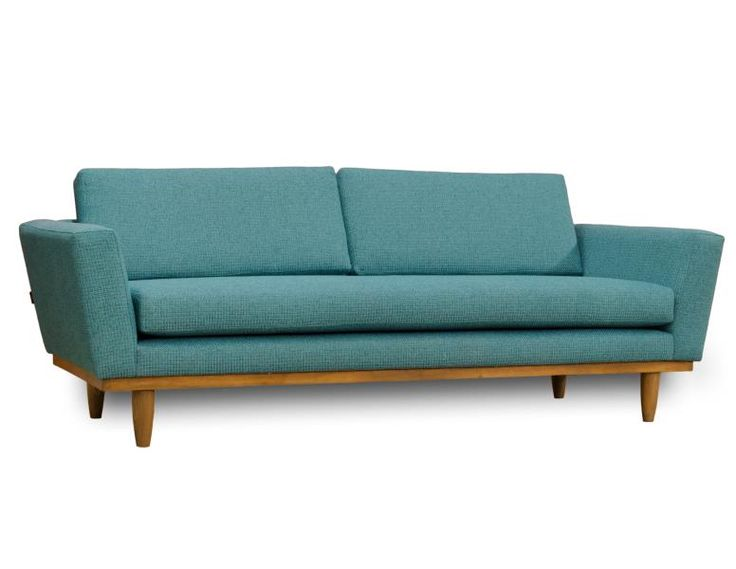 Top pick #5  by Jennifer Brouwer  www.jenniferbrouwerdesign.com G. Romano Inc.   Oslo sofa   Inspired by mid-century Scandinavian design, OSLO is striking in its simplicity. The clean lines, organic shapes and natural hard wood base make it the ideal piece in a retro themed interior. Available in loveseat, condo size and sofa, in a wide variety of patterns/colours; featuring foam cushions on seat and back. Wood base available in 6 colours  #HPmkt