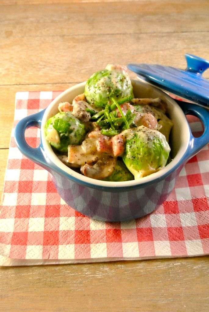 Ingezonden door Marloes: Romige spruitjes en champignons - Lekker en Simpel