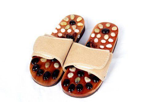 HealthPanion 1 Paar volle Reflexology Natural Stone Massage Slippers-fördern die Durchblutung und verbessern den Stoffwechsel