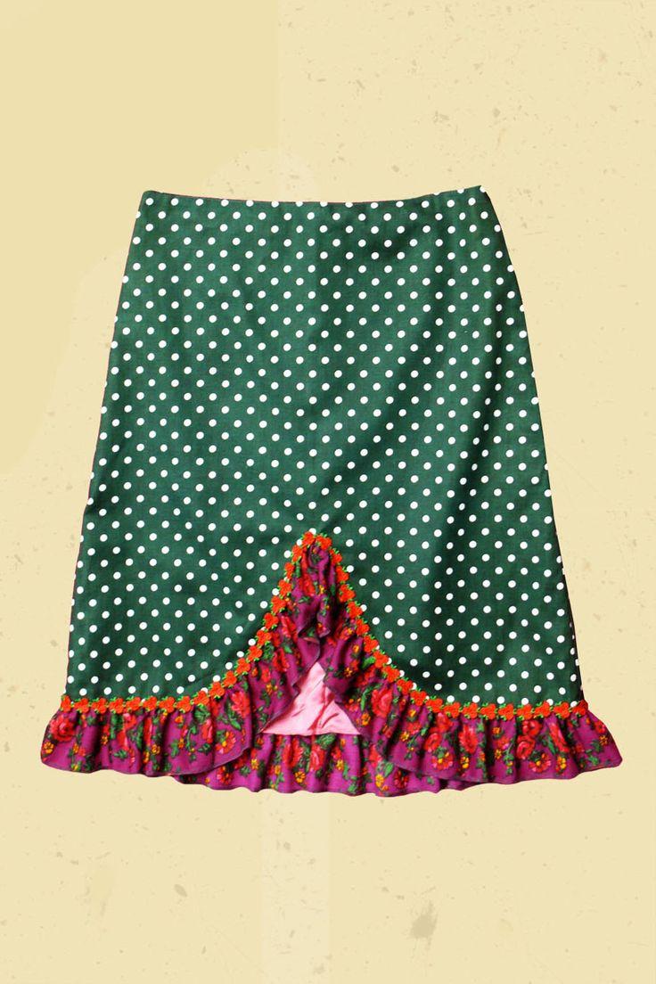 Donkergroene stip rok met paarse bloemenrand