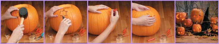 Carve Pumpkins with Cookie Cutters  Before you begin, carefully cut a circle around the pumpkin stem, lift off the lid and remove the seeds from the lid and inside the pumpkin.  Step 1: Tap Cookie Cutter  Step 2: Remove Cookie Cutter  Step 3: Carve Pumpkin  Step 4: Remove Shapes  Step 5: Insert Candle