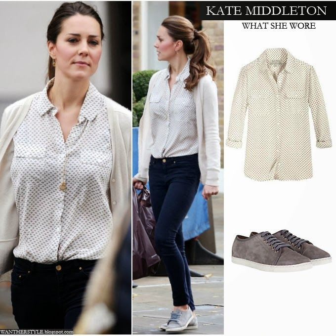 Kate Middleton in white Jack Wills Debarn blouse, white cardigan, blue skinny jeans and grey suede Mint Velvet sneakers Want her Style