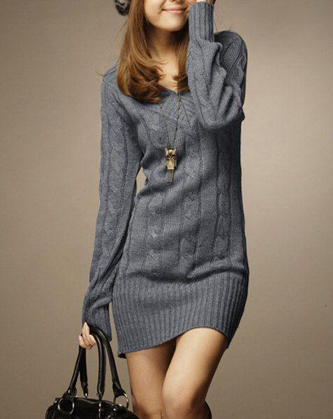 Vintage V-Neck Long Sleeve Solid Color Sweater For Women