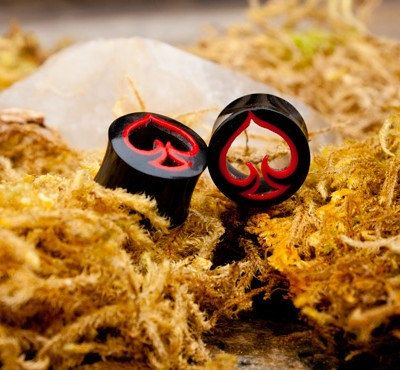 """Ace of Spades Tunnels w/ Red Resin 0g (8 mm), 00g (10 mm), 1/2"""" (12 mm) 9/16"""" (14 mm), 5/8"""" (16 mm). $29.99, via Etsy."""