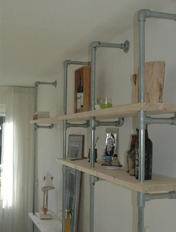 Bookcase scaffolding tube scaffolding wood, Kee Klamp fittings