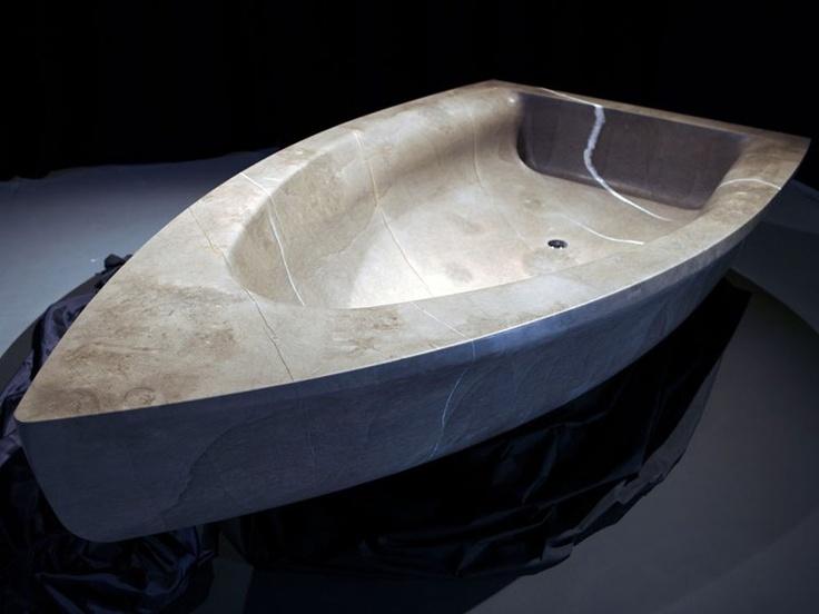 Vasca da bagno centro stanza in pietra naturale vascabarca - Vasca da bagno in pietra ...
