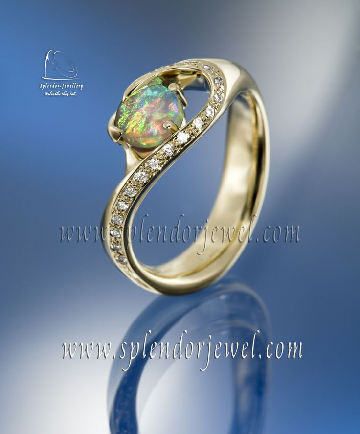 """One-off handmade piece of art"" this feed-back we received from our client. Opal ring with a line of sparkling briliant cut diamonds designed in a very clean shape. 18k yellow gold. More opal rings at www.splendorjewel.com"