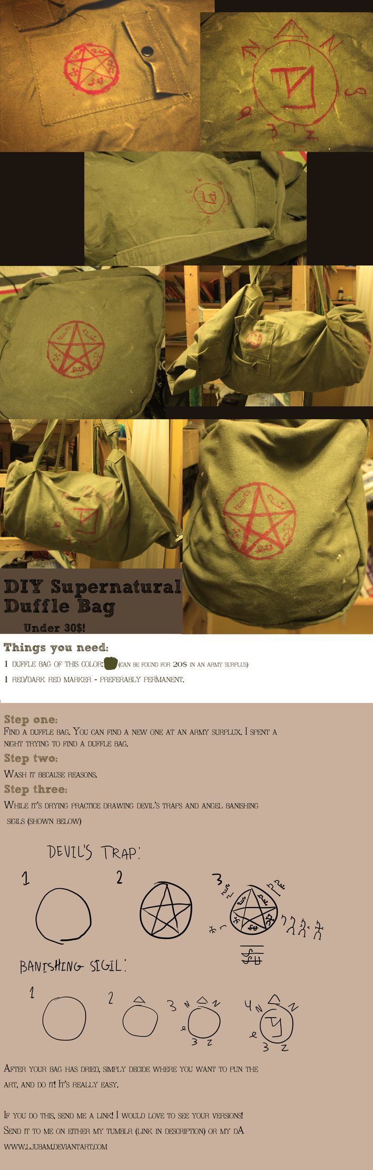 DIY Supernatural bag tutorial by LjubaM.deviantart.com on @deviantART
