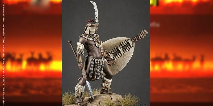 Зулусский воин, военно-историческая миниатюра