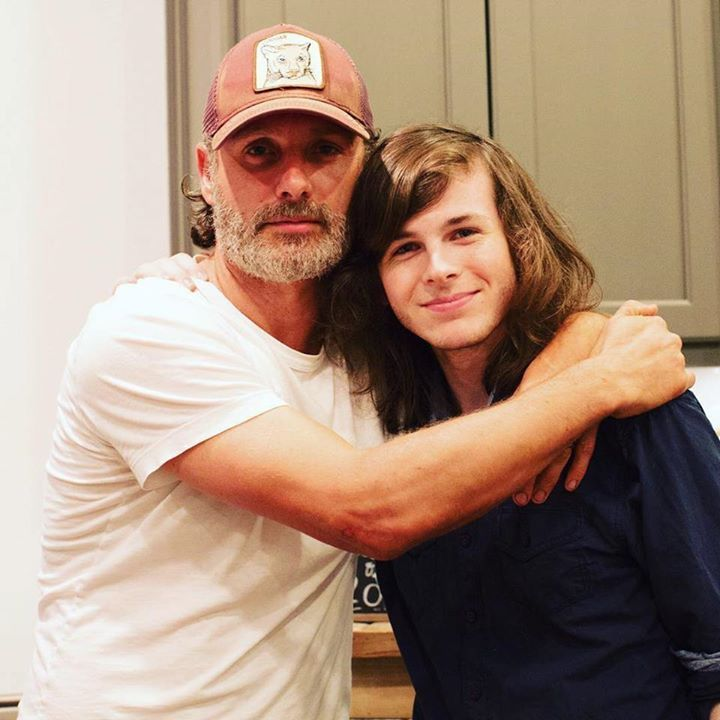 Andrew Lincoln surprises Chandler Riggs at his graduation party = @ginaannr #thewalkingdead #twd #thewalkingdeadseason7