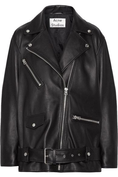 Acne Studios - Myrtle Leather Biker Jacket - Black - FR42