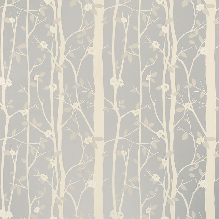 Cottonwood Leaf Metallic Wallpaper, Silver at LAURA ASHLEY