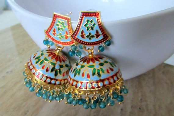 Indian blue red and green chandelier beaded jhumka earrings