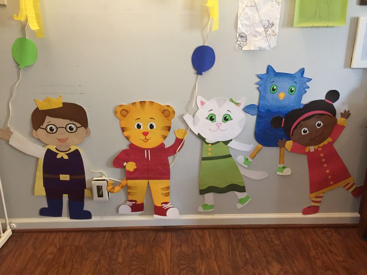 Our Daniel Tiger party: handmade cutouts of the DT gang using a ton of 12x12…