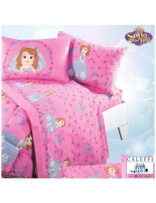 Completo lenzuola rosa Disney di Caleffi - Principessa Sofia