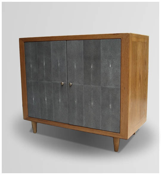 GC 03/10 Double door cabinet with one shelf  H. 70cm, W. 82cm, D. 40cm.  Doors covered with shagreen color grey.Shagreen Colors, Colors Grey, Furniture Collection, 03 10 Double, Double Doors, Doors Cabinets, Doors Covers, Galuchat Furniture