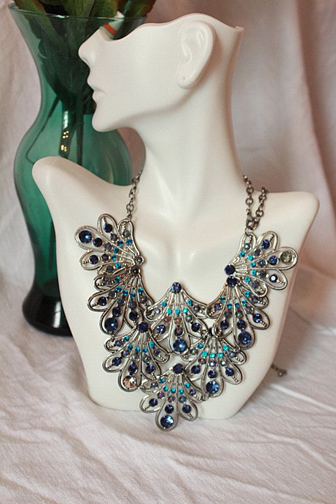 Peacock Feather Plate like Rhinestone Necklace by BelladeVintage, $17.99