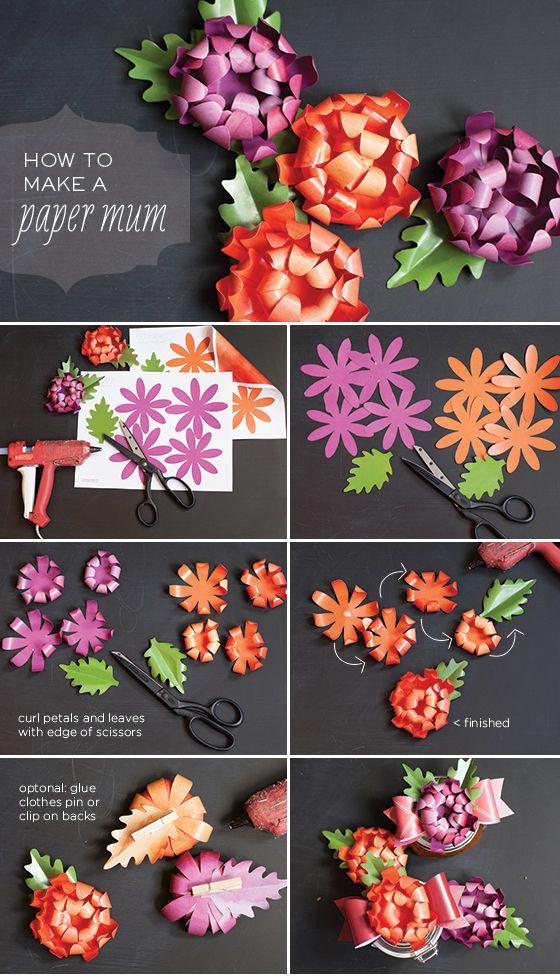 PAPER MUM PRINTABLES + TUTORIAL #flowers #chrysanthemum #DIY #craft