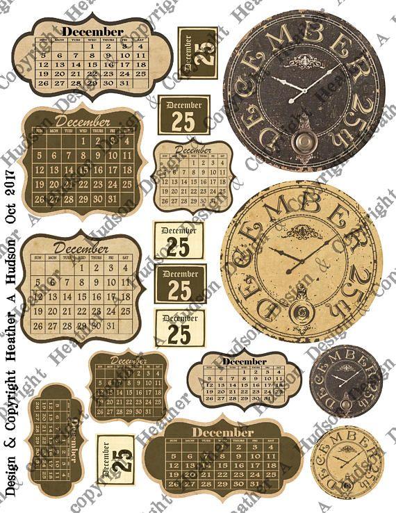 December Elements Gorgeous junk journal calendars tags Vintage