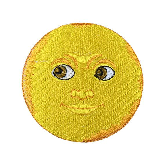 Emoji Moon Face Patch Embroidered Retro Light Iron On Sew On Patches