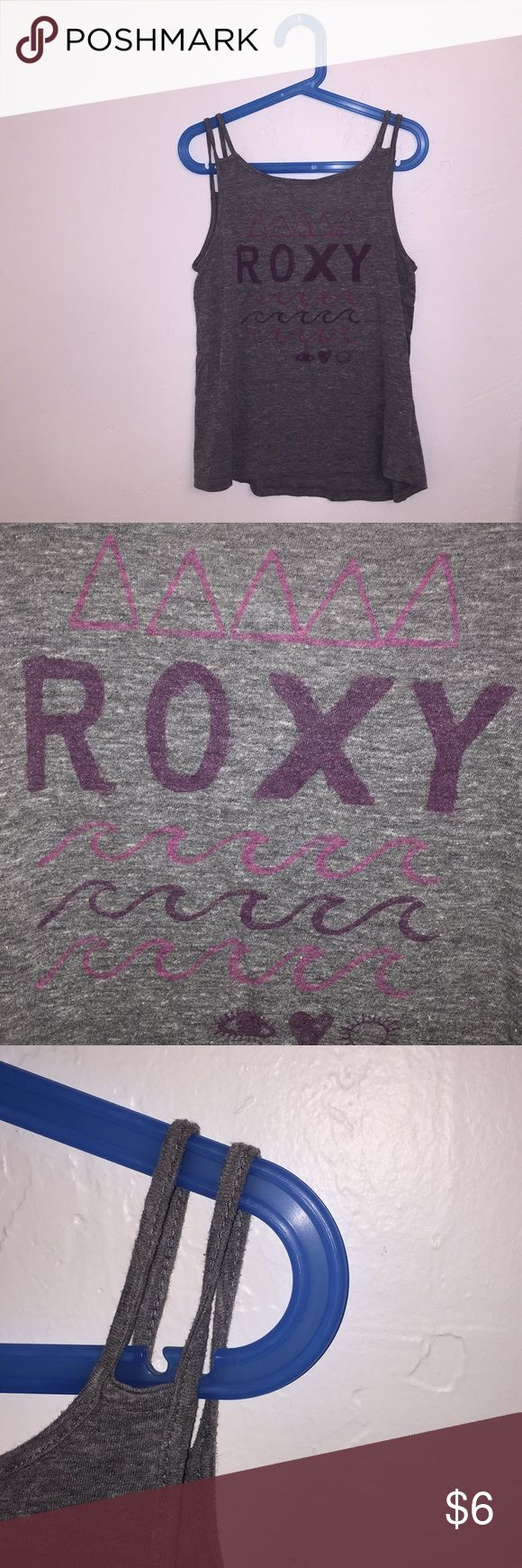 Roxy Top - size XL girls (i am a size small in women's and it fits me) - double stranded straps - cute writing - grey - perfect condition Roxy Tops Tank Tops