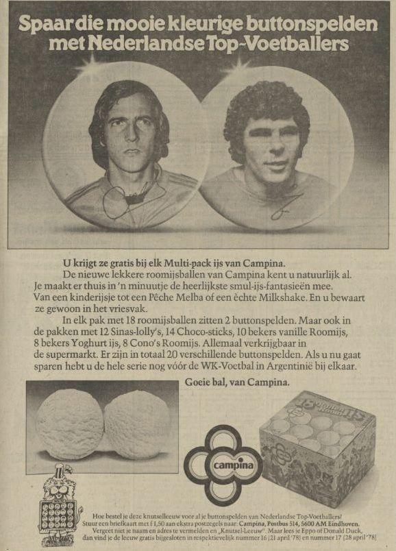 Advertentie uit een krant van april 1978 - over de buttons met Oranjevoetballers