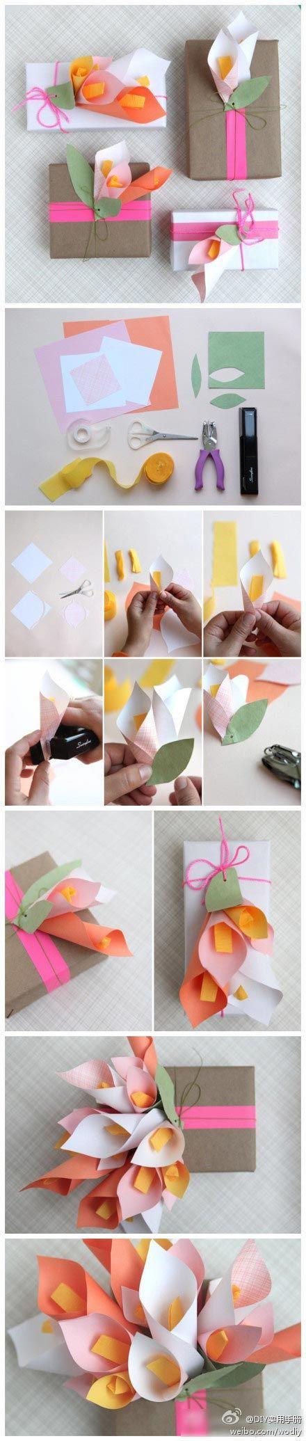 Ideas para decorar regalos con flores : Os presento un estupendotutorial fotográfico que nos enseña a fabricar flores de papel para decorar nuestros regalos y darles ese toque personal que nuest