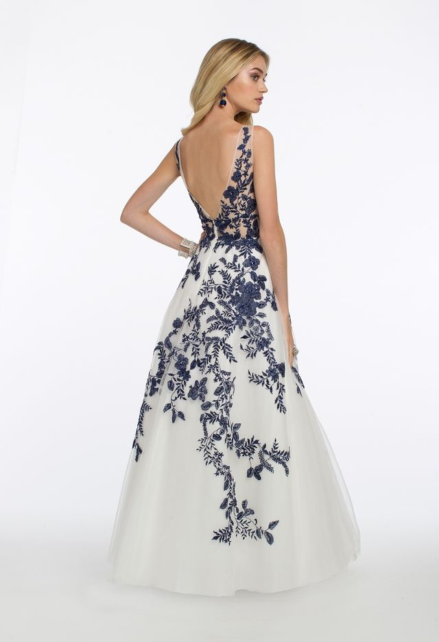 cef83f703562 Embroidered Illusion Plunge Long Evening Dress from Camille La Vie and  Group USA