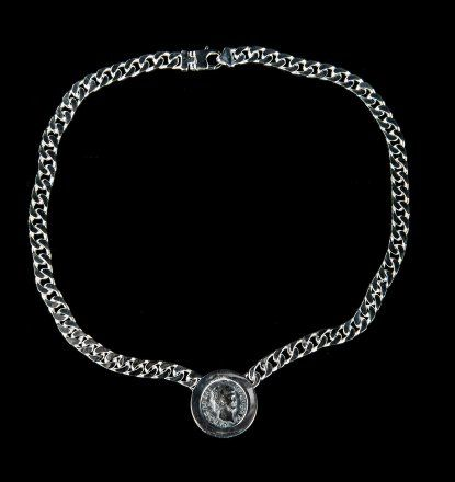 Roman silver coin necklace