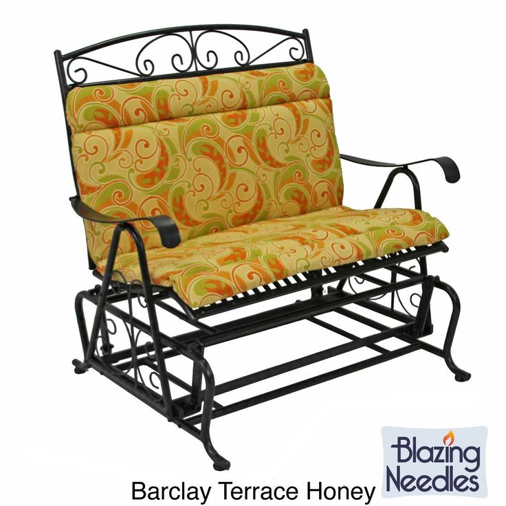 Blazing Needles Tropical/ Stripe All-weather Outdoor Double Glider Chair Cushion (