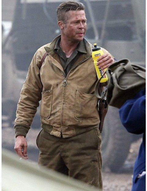 Brad Pitt Fury Brown Cotton Jacket