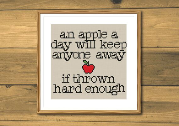 Funny cross stitch pattern apples instant by SpruceNatural on Etsy