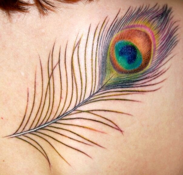 Peacock feather tattoo.  LOVE the copper in the eye