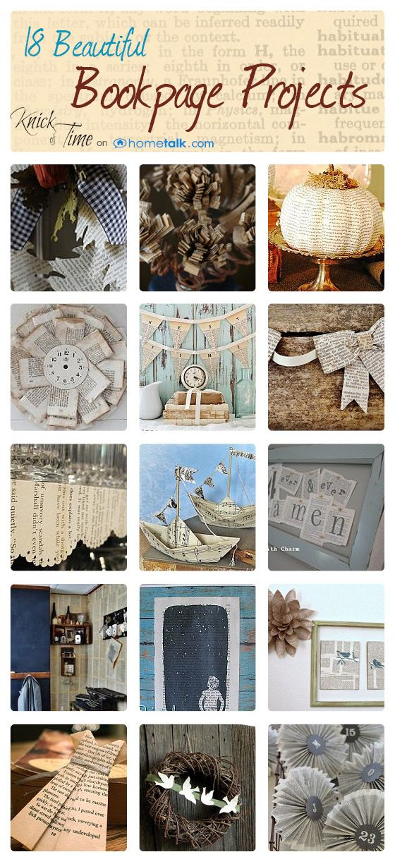 18 Creative Projects to Make with Book Pages ~~a curated collection by KnickofTime.net