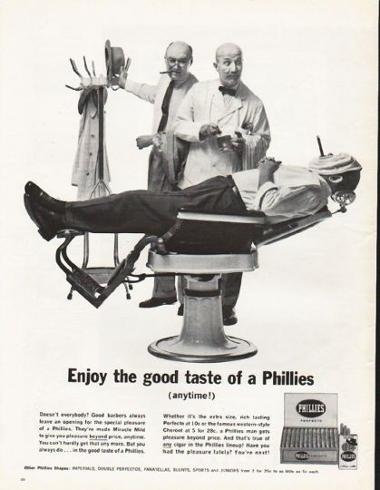 """1962 PHILLIES CIGARS vintage magazine advertisement """"the good taste of Phillies"""" ~ Enjoy the good taste of Phillies (anytime!) - Doesn't everybody? Good barbers always leave an opening for the special pleasure of a Phillies. They're made Miracle ..."""