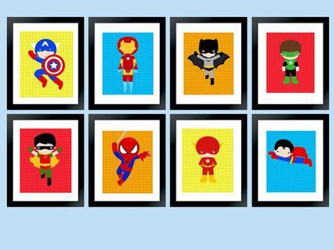 Conjunto de superhéroe de pared 8 Arte por RainbowSweetStudio