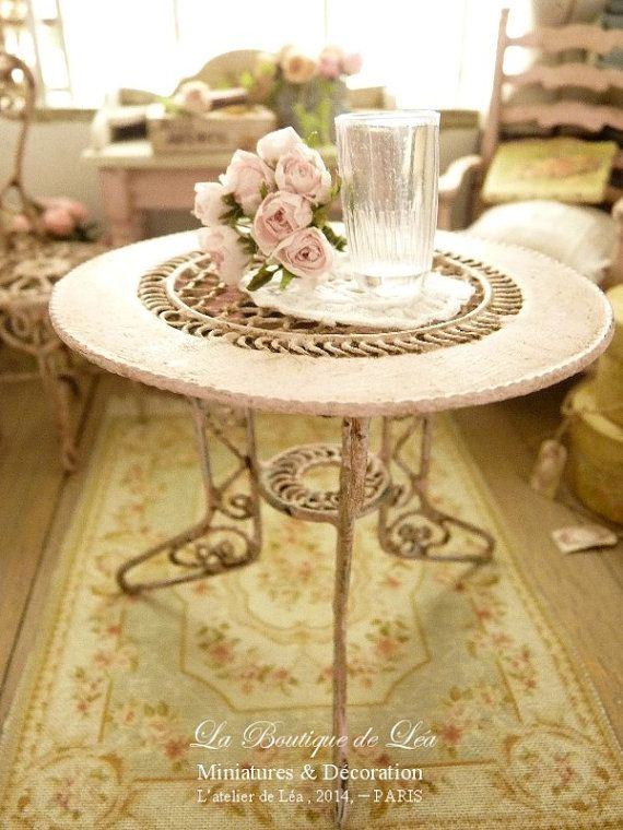 Conservatory, Romantique garden table, Aged pale pink, Furniture for dollhouse in1:12th scale