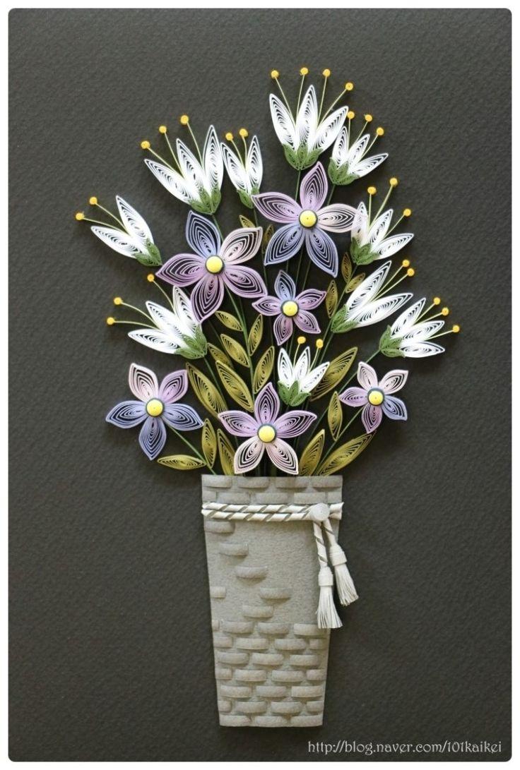 paper quilling - flower & vase  http://blog.naver.com/101kaikei/220117666673
