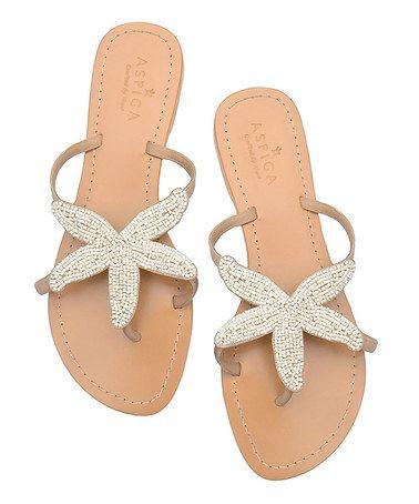 White Beaded Starfish Sandal Aspiga