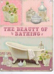Beauty Of Bathing Bathroom A5 Metal Sign. £6.00