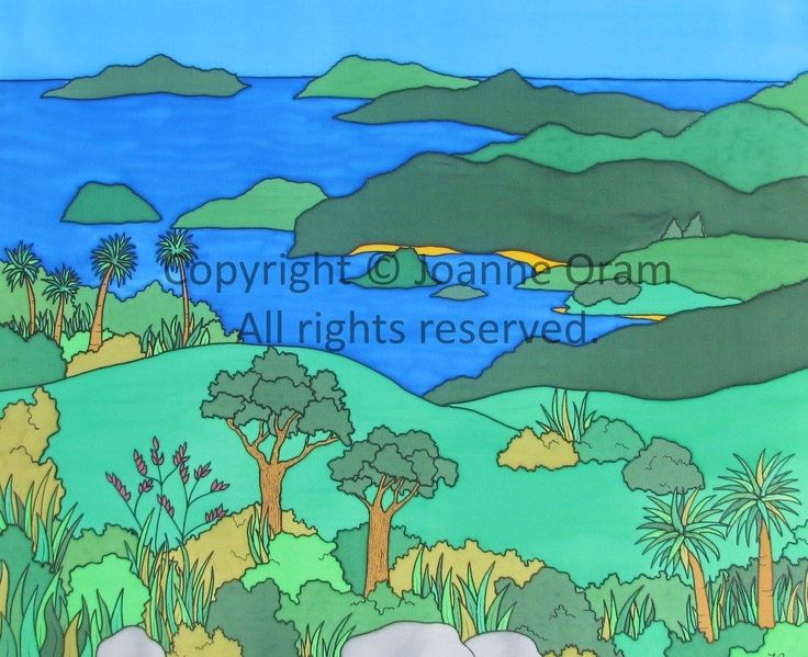 Bold silk painting, based on an area near whananaki, northland, NZ. Original silk for sale in store. Available to purchase on canvas, cards, cushions,phone cases and more from www.naturespalette.co.nz