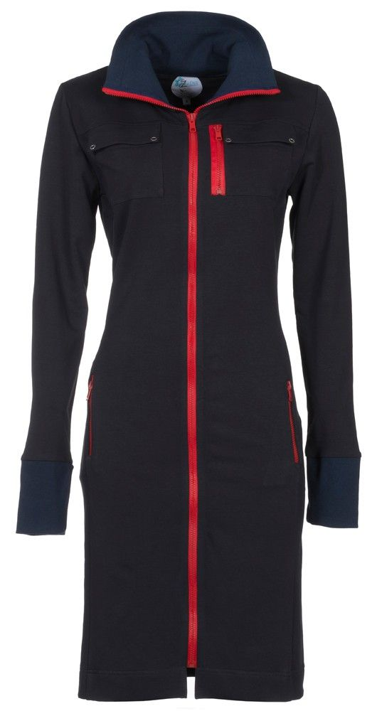 Zendee Sportieve donker blauwe en rood jogging dames jurk vest dress navy blue and red sporty