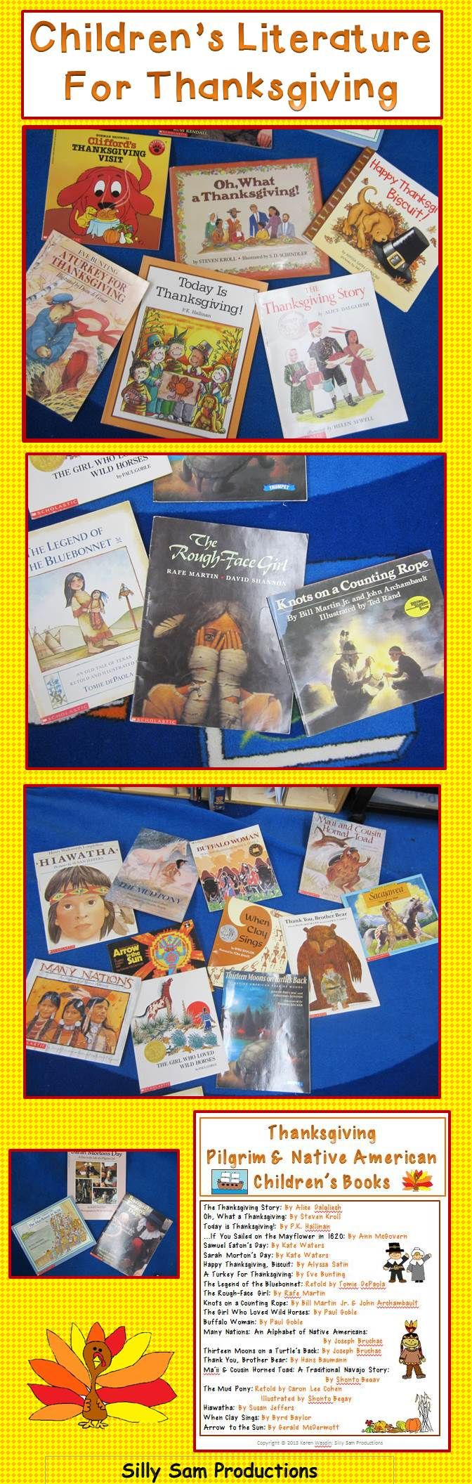 Children's Literature for Thanksgiving, Pilgrims and Native Americans. Create a whole unit using these wonderful books! Great for RETELLING too!