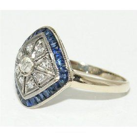 ♥: Sapphire Rings, Antique Rings, Art Deco Rings, Art Deco Jewelry, Diamond Rings, Diamonds Rings, Vintage Rings, Blue Diamonds, Antiques Rings