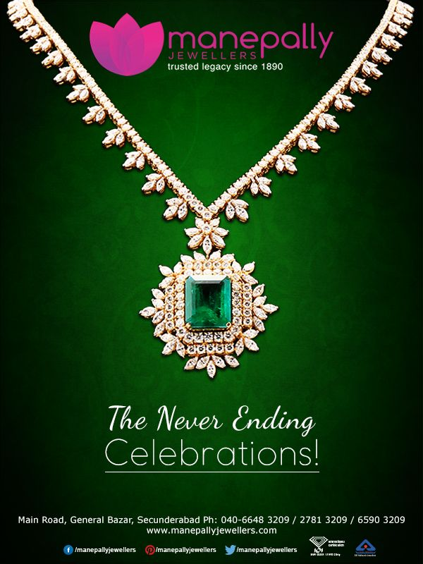 The never ending celebrations! Take joy and happiness wherever you go with Manepally's exquisite ‪#‎Jewellery‬. Get your favorite ‪#‎design‬ from our special collection at the modest price!