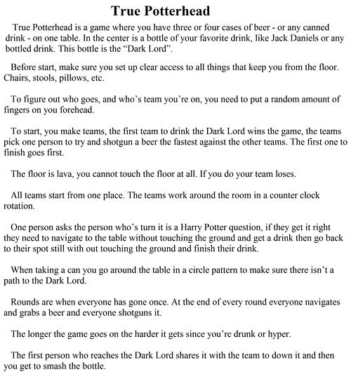 30 Best Harry Potter Drinking Game Night Images On -1843